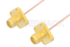 SMA Female 4 Hole Flange to SMA Female 4 Hole Flange Cable 60 Inch Length Using PE-047SR Coax -- PE35118-60 -Image