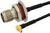 TNC Female Bulkhead to MMCX Plug Right Angle Semi-Flexible Cable 18 Inch Length Using PE-SR405FLJ Coax with HeatShrink, LF Solder, RoHS -- PE39492-18 -Image