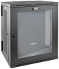 SmartRack 15U Low-Profile Switch-Depth Wall-Mount Rack Enclosure Cabinet with Clear Acrylic Window, Hinged Back -- SRW15USG