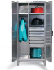 Stainless Steel Wardrobe Cabinet with Drawers -- 45-W-243-4DB-SS
