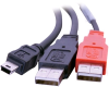 CTG 28107 USB 2.0 Mini-B Male to USB A Male Y-Cable -- 28107