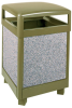 Aspen Stone Panel Hinged Top Waste Receptacle -- GPR458-BRONZE