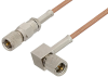 10-32 Male to 10-32 Male Right Angle Cable 60 Inch Length Using RG178 Coax -- PE36528-60 -Image