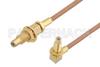 SSMC Jack Bulkhead to SSMC Jack Right Angle Bulkhead Cable 18 Inch Length Using RG178 Coax -- PE3C4461-18 -Image