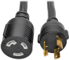 L5-30P to L5-30R Heavy-Duty Extension Cord - 30A, 125V, 10 AWG, 6 ft., Black, Locking Connectors -- P046-006-LL-30A