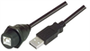 USB Cable, Waterproof Type B Female - Standard Type A Male, 1.0m -- MUS2A00004-1M -Image