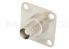 BNC Female Connector Field Replaceable Attachment 4 Hole Flange Slotted Contact Terminal, 1.24 Sq. Flange Watt Meter Connector -- PE44720 -Image