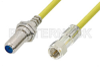 75 Ohm F Male to 75 Ohm F Female Bulkhead Cable 36 Inch Length Using 75 Ohm PE-B159-YW Yellow Coax -- PE38138/YW-36 -Image