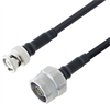 Low Loss BNC Male to N Male Cable Assembly using LMR-200-FR Coax, 1.5 FT with Times Microwave Components -- LCCA30251-FT1.5 -Image