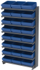 Akro-Mils APRS 400 lb Blue Gray Powder Coated Steel 16 ga Single Sided Fixed Rack - 36 3/4 in Overall Length - 24 Bins - Bins Included - APRS112 BLUE -- APRS112 BLUE - Image