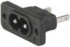 IEC Appliance Inlet C8, screw-on mounting front or rear, solder or quick-connect or PCB terminal -- 2576 -Image