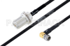 MIL-DTL-17 N Female Bulkhead to SMA Male Right Angle Cable 12 Inch Length Using M17/84-RG223 Coax -- PE3M0049-12 -Image