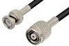 Reverse Polarity TNC Male to BNC Male Cable 72 Inch Length Using RG58 Coax, RoHS -- PE35229LF-72 -Image