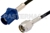 SMA Male to Blue FAKRA Plug Cable 36 Inch Length Using PE-C100-LSZH Coax -- PE39342C-36 -Image