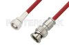 75 Ohm SMC Plug to 75 Ohm BNC Male Cable 36 Inch Length Using 75 Ohm PE-B159-RD Red Coax -- PE39260/RD-36 -Image