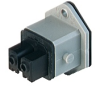 Rectangular Receptacle Power Connector (ST Series): Female, front mount with flange with coding slot, 2-pin+PE, grey housing, 230 V AC/DC, 16 A AC/6 A DC -- STAKEI 200 - Image