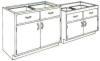 Standard Steel Laboratory Cabinet, (2) Doors & (2) Drawers -- 220 Series