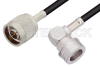 N Male to QN Male Right Angle Cable 24 Inch Length Using LMR-195 Coax -- PE3C0059-24 -Image