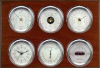 Weathermaster 2S, Chrome cases, Silver dials, Mahogany panel