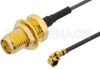 SMA Female Bulkhead to UMCX Plug Cable 12 Inch Length Using 1.13mm Coax -- PE38297-12