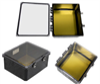 14x12x06 UL® Listed Polycarbonate Weatherproof NEMA 4X Enclosure w/Aluminum Mounting Plate, Clear Lid Black -- NBBWPC141206-KIT -Image