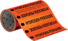 Brady B-946 Black on Orange Vinyl Self-Adhesive Pipe Marker - 8 in Height - 30 ft Length - Printed Msg = HYDROGEN PEROXIDE with Left Arrow - 109344 -- 754473-67576