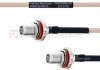 SMA Female Bulkhead to SMA Female Bulkhead MIL-DTL-17 Cable M17/113-RG316 Coax in 24 Inch -- FMHR0095-24 -Image