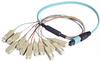 MPO Male to 12x SC Fan-out, 12 Fiber Ribbon, OM4 100G 50/125 Multimode, LSZH Jacket, Aqua, 0.5m -- MPM12OM4-SC-05 - Image
