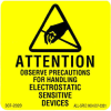 """Label, Yellow/Black 2"""" x 2""""  """"Attention Observe Precautions"""" -- 307-2020 -- View Larger Image"""