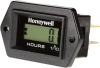 Honeywell LM Series Hour Meter in a diamond shape with black bezel, four 1/4 inch blade terminals (positive, negative, reset, enable), 9 V to 64 V voltage range, and the Honeywell logo on the face -- LM-HH4AS-H11 -Image