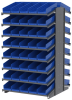 Akro-Mils 1800 lb Blue Gray Powder Coated Steel 16 ga Double Sided Fixed Rack - 36 3/4 in Overall Length - 84 Bins - Bins Included - APRD18138 BLUE -- APRD18138 BLUE - Image