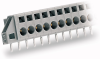 1-conductor feedthrough terminal strip; angled contact pin 1x1.2 mm; 5-pole; with fixing flanges; pin spacing 5 mm / 0.197 in; for flush-mounting -- 231-605/023-000
