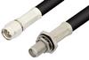 SMA Male to SMA Female Bulkhead Cable 72 Inch Length Using 75 Ohm RG59 Coax, RoHS -- PE3871LF-72 -- View Larger Image