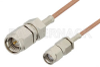 SMA Male to Reverse Polarity SMA Male Cable 12 Inch Length Using RG178 Coax -- PE35208-12 -Image