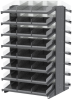 Akro-Mils 1800 lb Clear Gray Powder Coated Steel 16 ga Double Sided Fixed Rack - 36 3/4 in Overall Length - 48 Bins - Bins Included - APRD18178SC -- APRD18178SC - Image