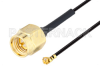 SMA Male to UMCX 2.5 Plug Cable 3 Inch Length Using 1.37mm Coax, RoHS -- PE3CA1025-3 -Image