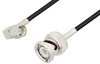 SMA Male Right Angle to BNC Male Cable 18 Inch Length Using RG174 Coax, LF Solder, RoHS -- PE3C3448LF-18 -- View Larger Image