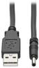 USB to DC Power Cable – M/M, USB-A to 3.5 x 1.35 mm DC Barrel Plug, 3 ft. -- U152-003-3P5 -- View Larger Image