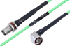 Temperature Conditioned TNC Female Bulkhead to N Male Right Angle Low Loss Cable 36 Inch Length Using PE-P160LL Coax -- PE3M0214-36 -Image