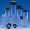 Clear Glass E-C Sample Vials w/ Black Phenolic Screw Caps -- 224742