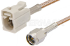SMA Male to White FAKRA Jack Cable 12 Inch Length Using RG316 Coax -- PE39348B-12 -Image