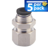 Bulkhead Air Fitting: push-connect, female, for 1/4in OD tubing, 5/pk -- FB14-18N -- View Larger Image