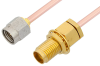 2.92mm Male to 2.92mm Female Bulkhead Cable 6 Inch Length Using RG405 Coax -- PE34747-6 -Image