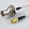 SMA Female to BNC Female Bulkhead Cable RG316 Coax in 72 Inch -- FMC1338316-72 -Image