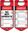 Labeled Lockout Hasps (Red) (Red; DANGER DO NOT OPERATE...ETC; English) -- 754476-65970