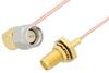 SMA Male Right Angle to SMA Female Bulkhead Cable 6 Inch Length Using PE-047SR Coax, RoHS -- PE34303LF-6 -Image