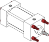 Series MN Aluminum Pneumatic Cylinder - Model MN12 NFPA Style MX3 -- Tie-Rods Extended Rod End