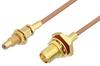 SMA Female Bulkhead to SSMC Jack Bulkhead Cable 6 Inch Length Using RG178 Coax -- PE3C4396-6 -Image