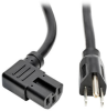 5-15P to Right-Angle C15 Power Cord - Heavy Duty, 15A, 125V, 14 AWG, 8 ft., Black -- P019-008-C15RA - Image