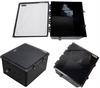 18x16x10 Polycarbonate Weatherproof Outdoor IP66 NEMA 4X Enclosure, Modified Base Clear Lid Black -- TEBWPC181610-02 -- View Larger Image